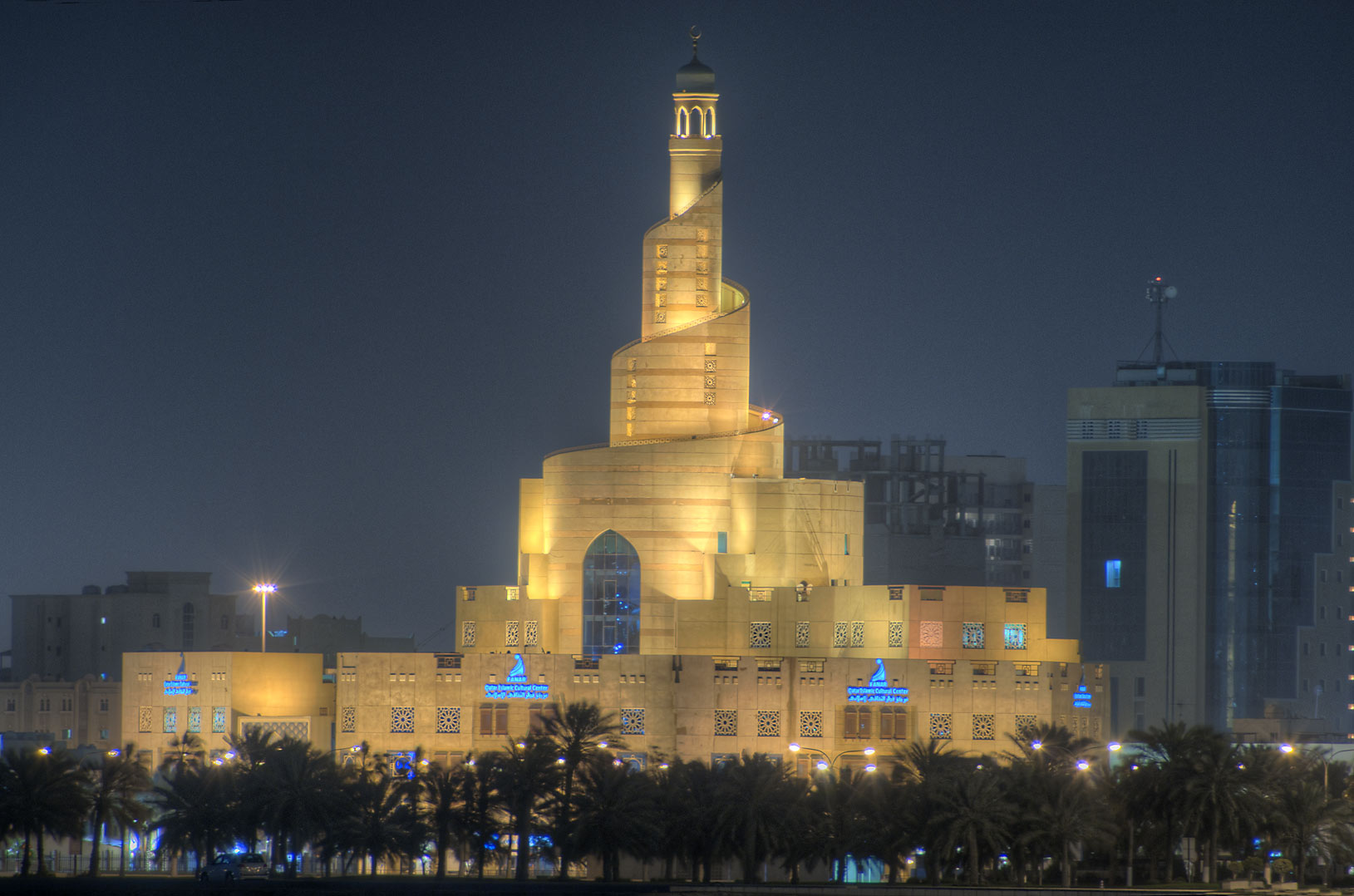 Spiral mosque of the Kassem Darwish Fakhroo...view from Corniche. Doha, Qatar