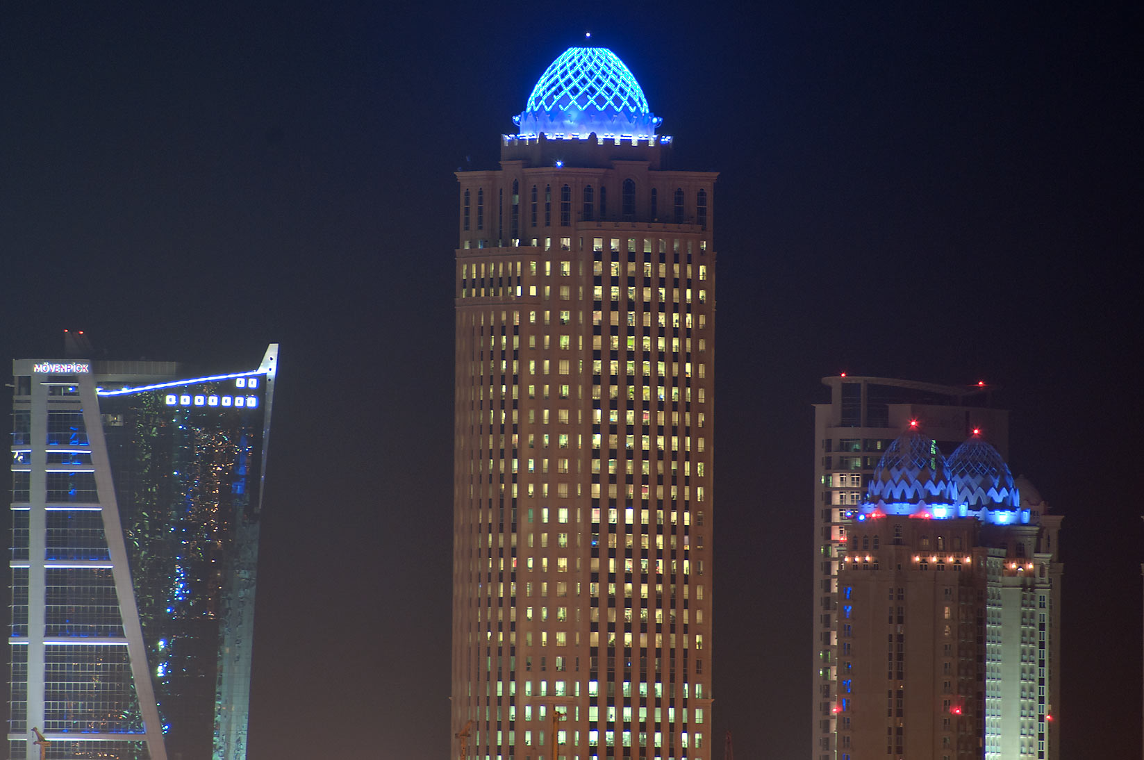 Moevenpick Hotel and Qtel Tower, view from Corniche. Doha, Qatar