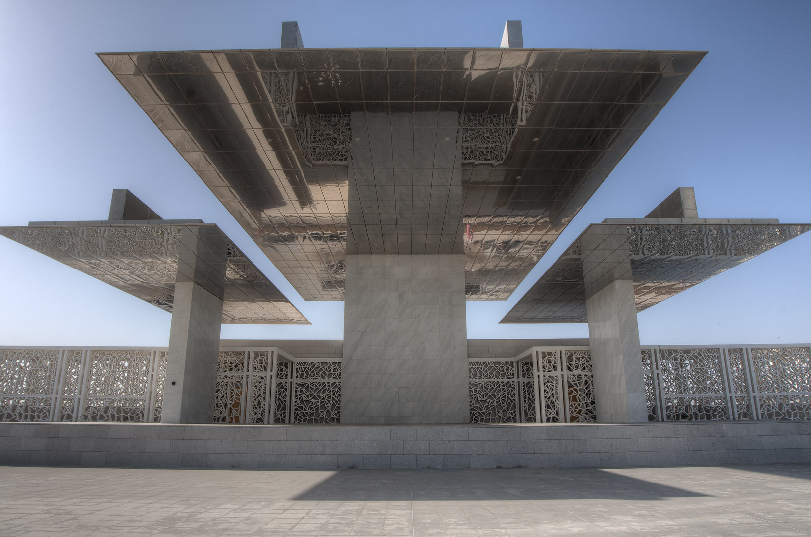Steel canopy of Ceremonial Court in Education City. Doha, Qatar