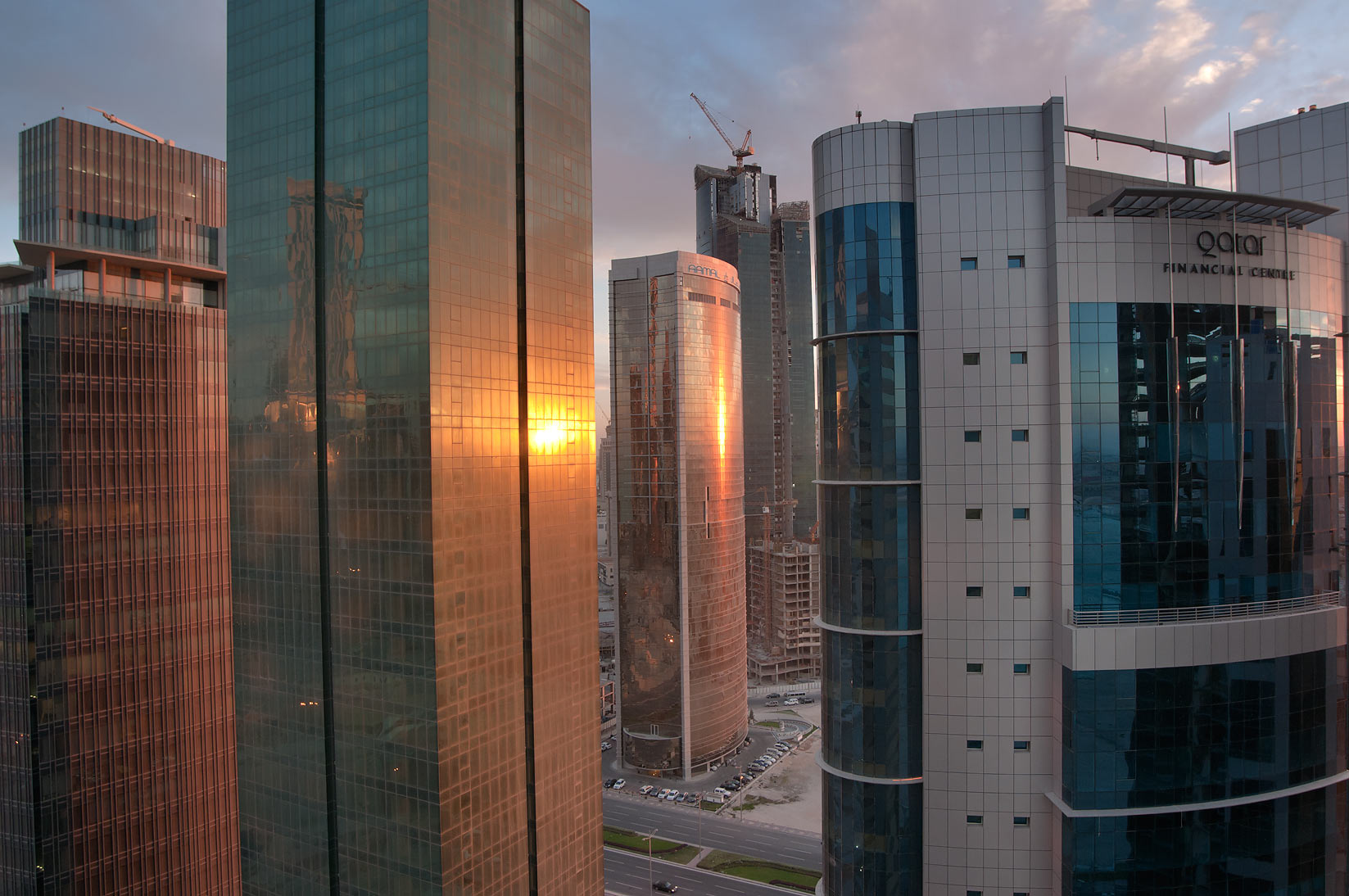 Amwal Tower and Financial Center, view at sunset...2303 of ASAS Tower West. Doha, Qatar