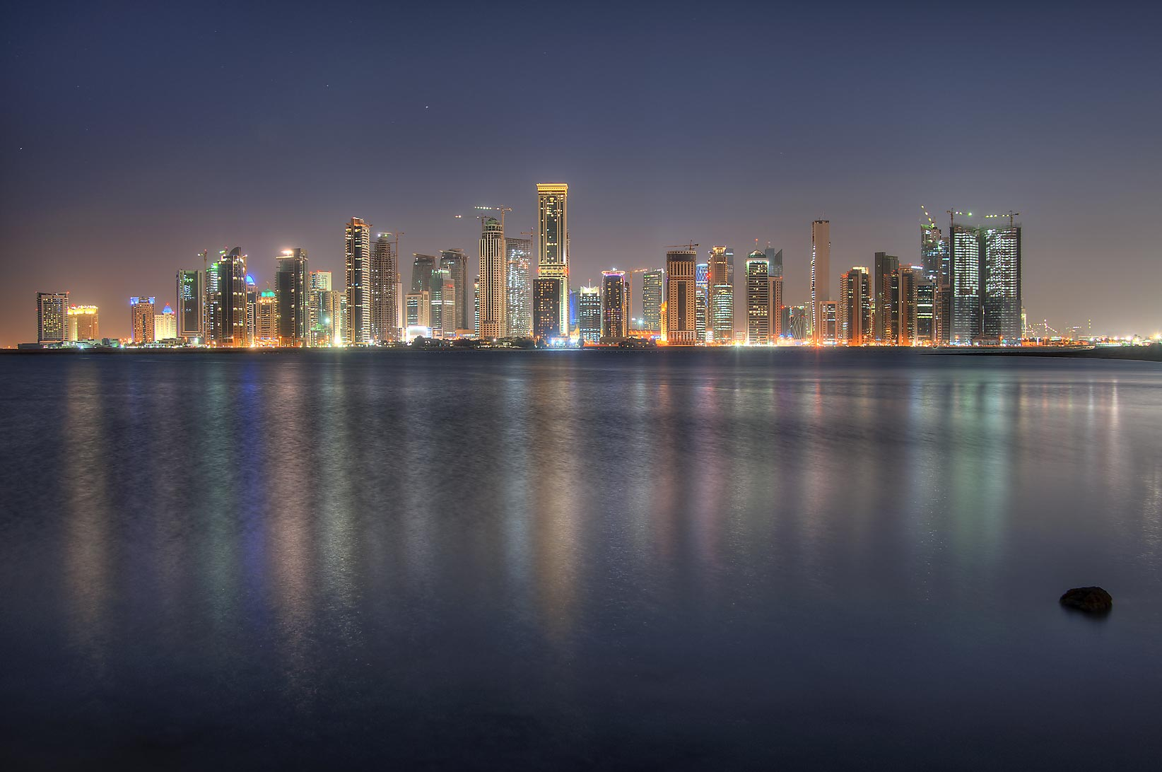 West Bay from a beach south of InterContinental Hotel. Doha, Qatar