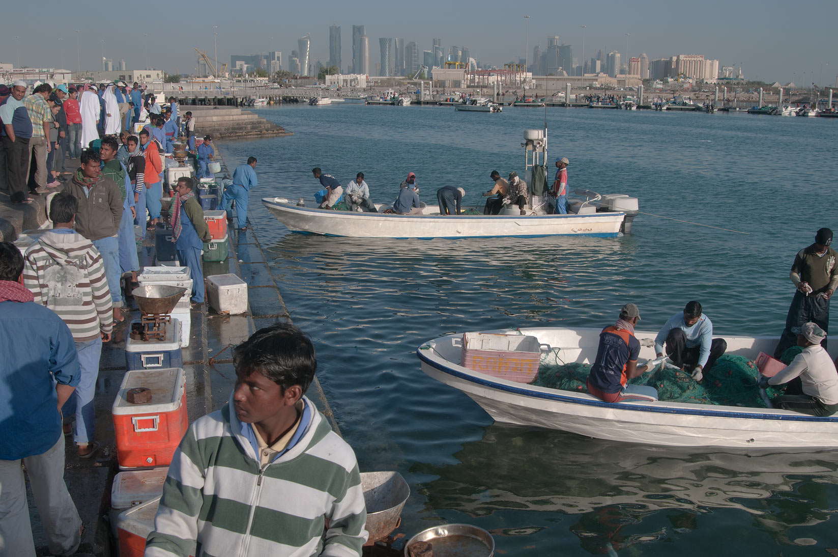 Boats at Corniche Fresh Fish Sold Market. Doha, Qatar