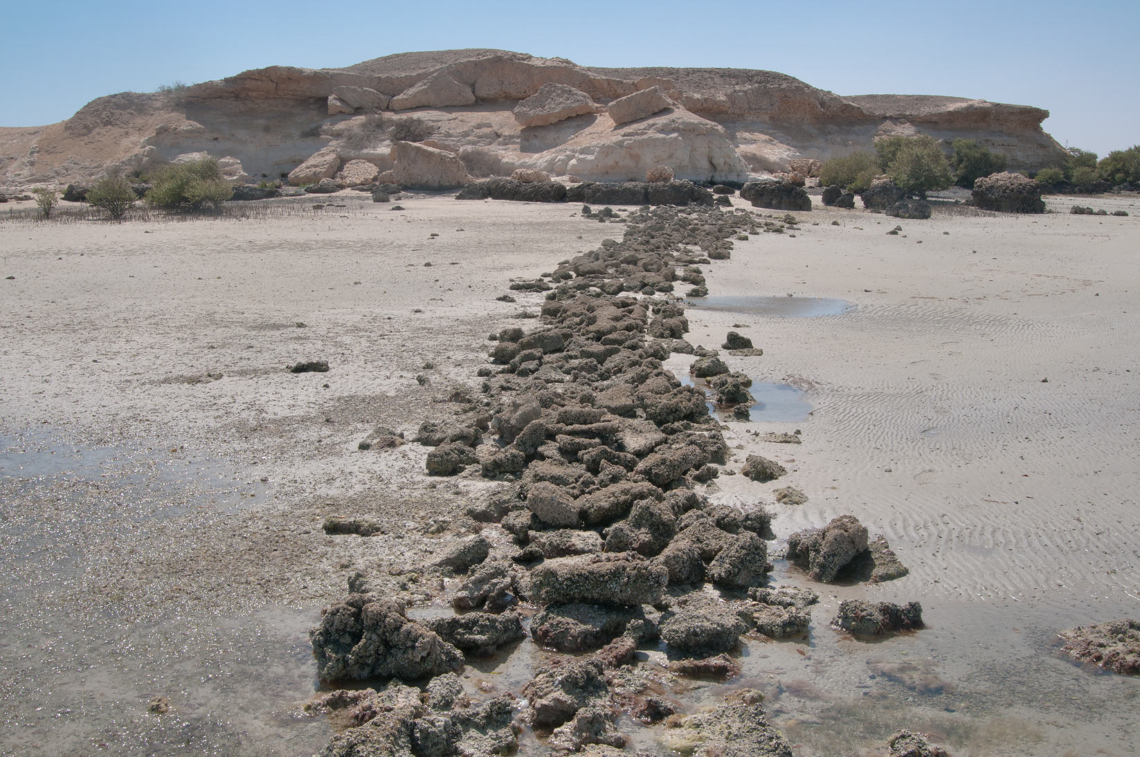 Line of beachrock stones remained from ancient...Jazirat Bin Ghanim). Al Khor, Qatar