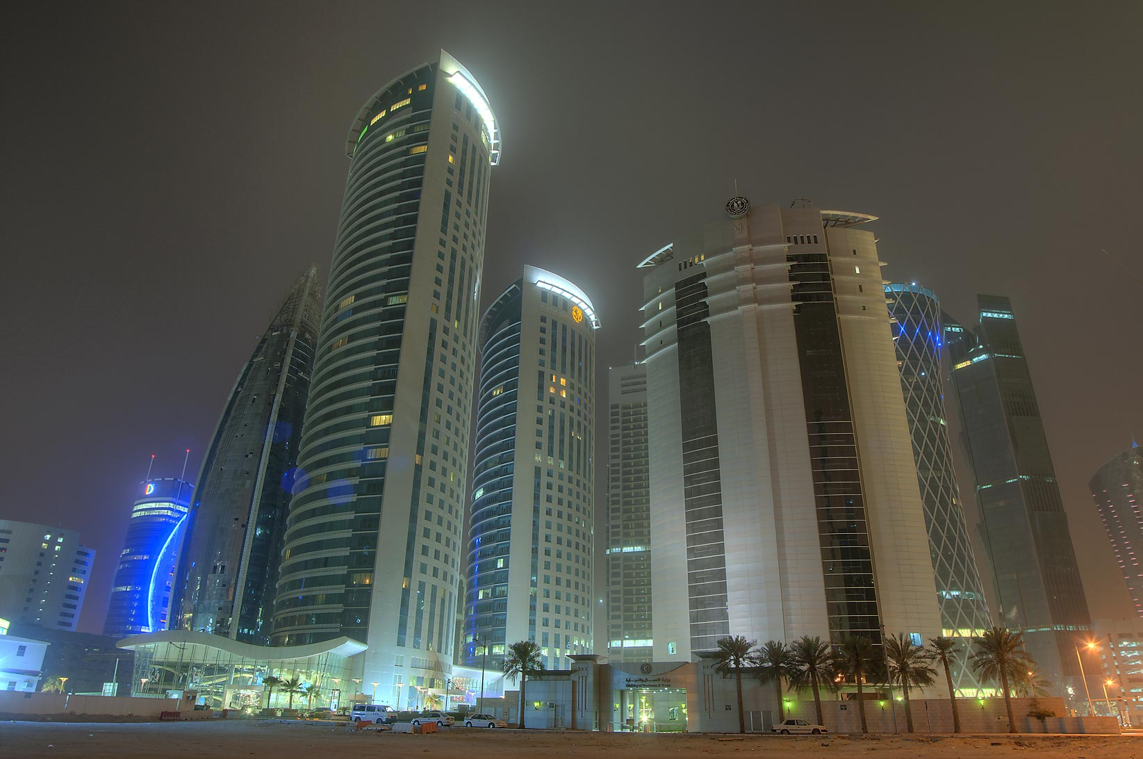 Office towers of West Bay, view from a backyard of City Center Mall. Doha, Qatar