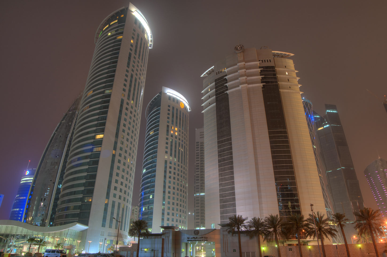 Al Fardan and Ministry of Economy towers in West...of City Center Mall. Doha, Qatar