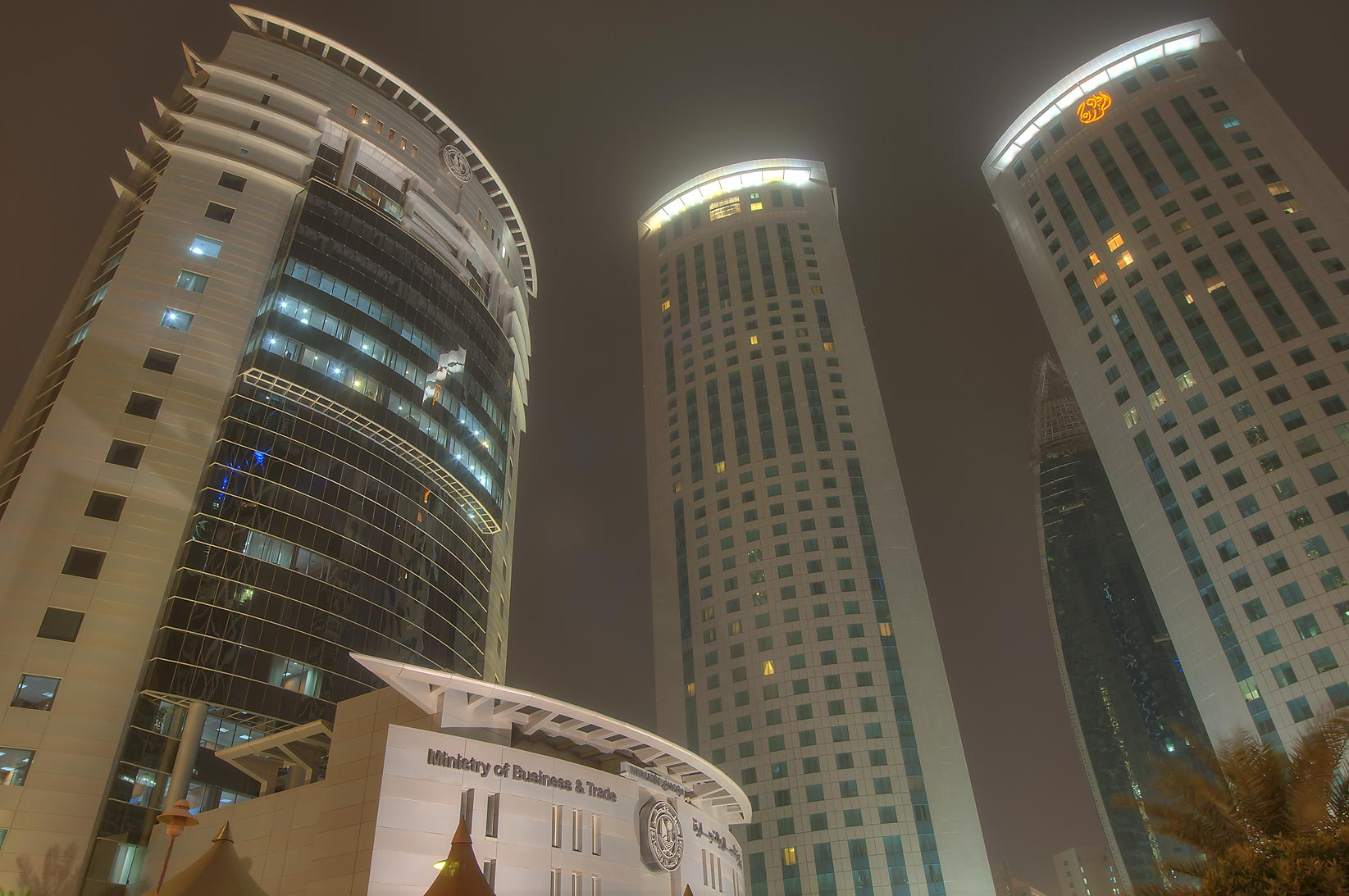 Ministry of Economy and Al Fardan towers in West...and Al Funduq streets. Doha, Qatar