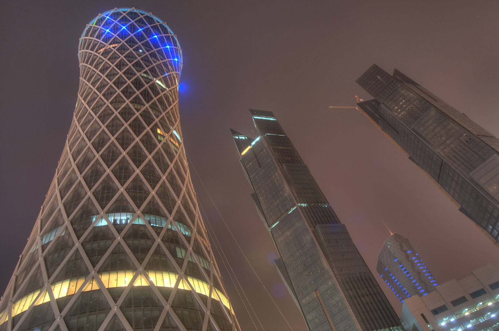 Tornado and Palm towers in West Bay, view from a...and Al Funduq streets. Doha, Qatar