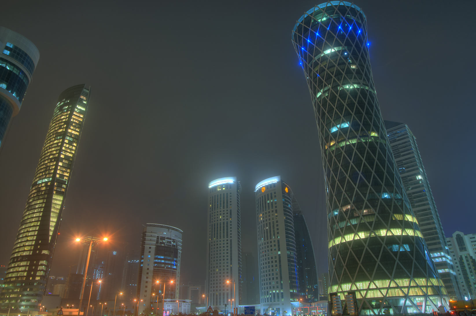 Towers in West Bay around crossing of Al Wahda and Al Funduq streets. Doha, Qatar