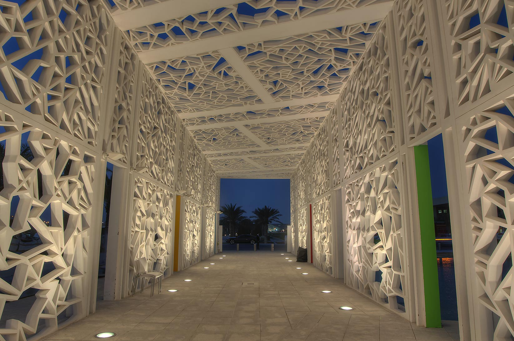Passageway of Ceremonial Court on campus of Education City. Doha, Qatar
