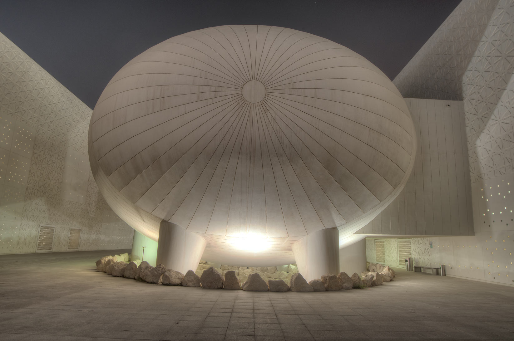 Ovoid structure of Weill Cornell Medical College...City campus at evening. Doha, Qatar