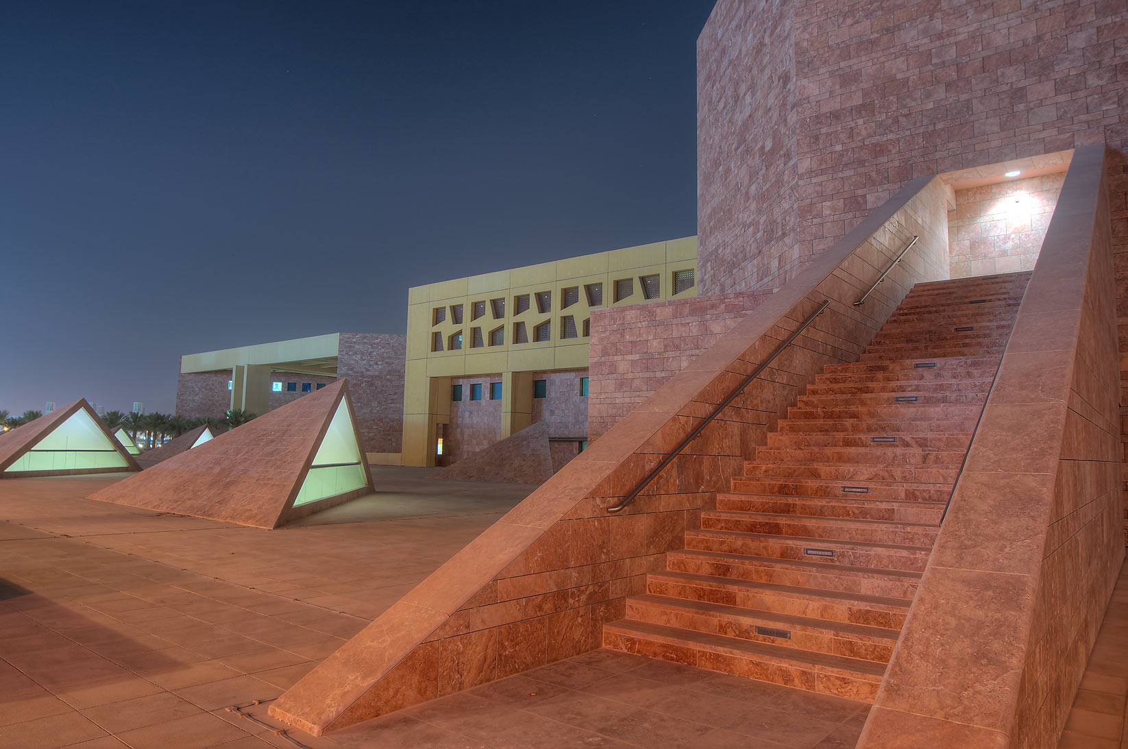 Entrance stairs of TAMUQ Main Lecture Hall 238...in Education City campus. Doha, Qatar