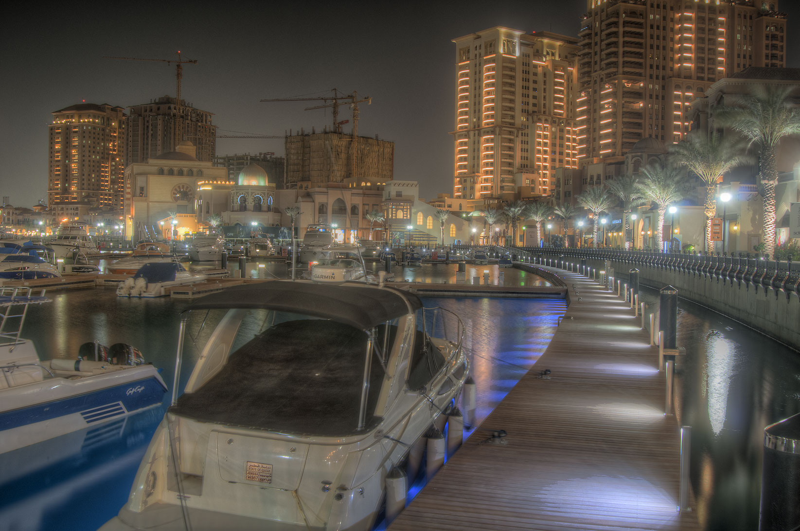 Boat harbor in Porto Arabia in the Pearl Qatar development. Doha, Qatar