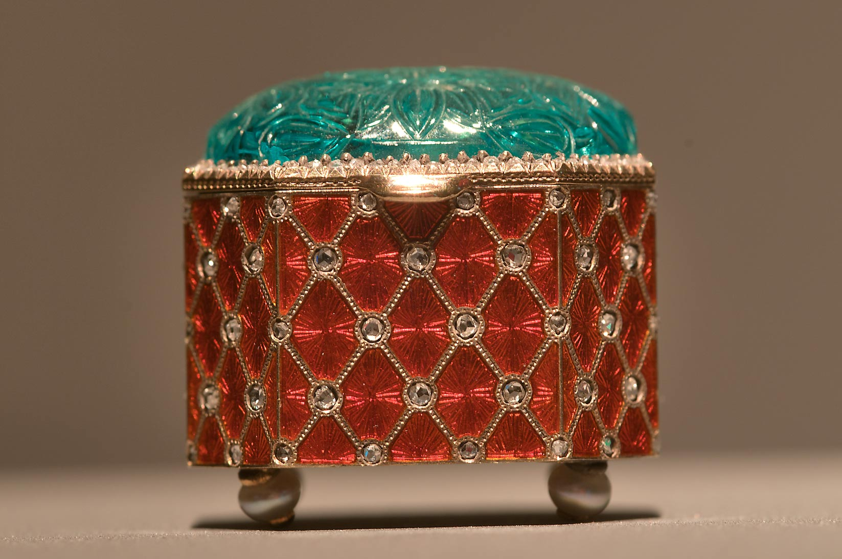 Decorated box on display in Museum of Islamic Art. Doha, Qatar