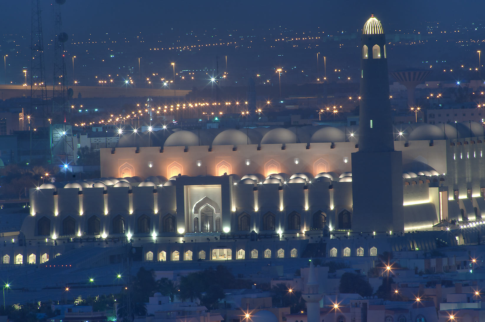 State Mosque at Al-Khuwair at dusk, view from a...2303 of ASAS Tower West. Doha, Qatar