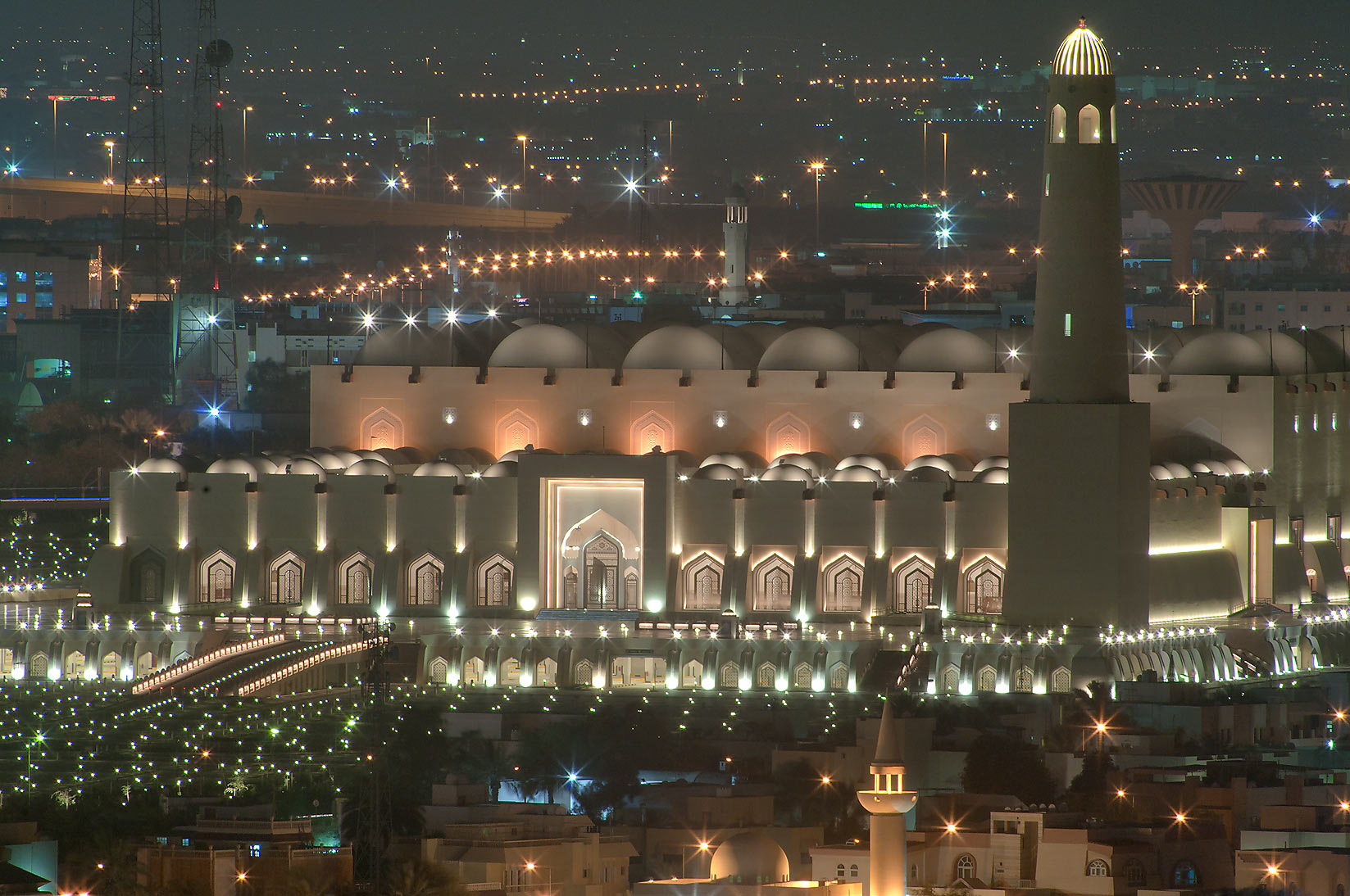 State Mosque at Al-Khuwair at evening, view from...2303 of ASAS Tower West. Doha, Qatar