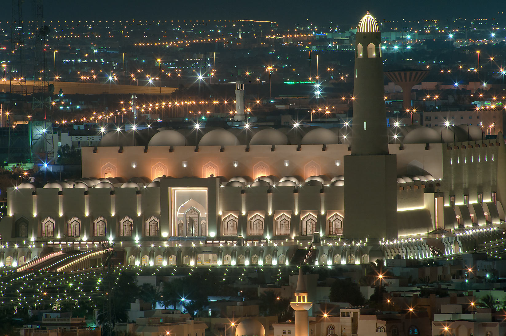 State Mosque at Al-Khuwair at night, view from a...2303 of ASAS Tower West. Doha, Qatar