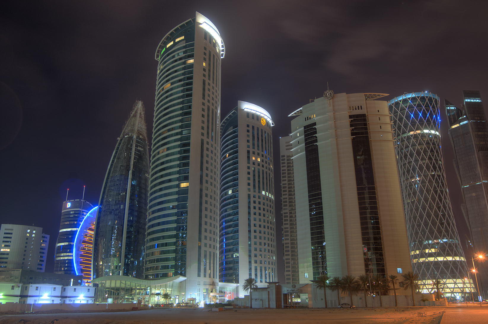 Office towers in West Bay, view from empty land behind City Center Mall. Doha, Qatar