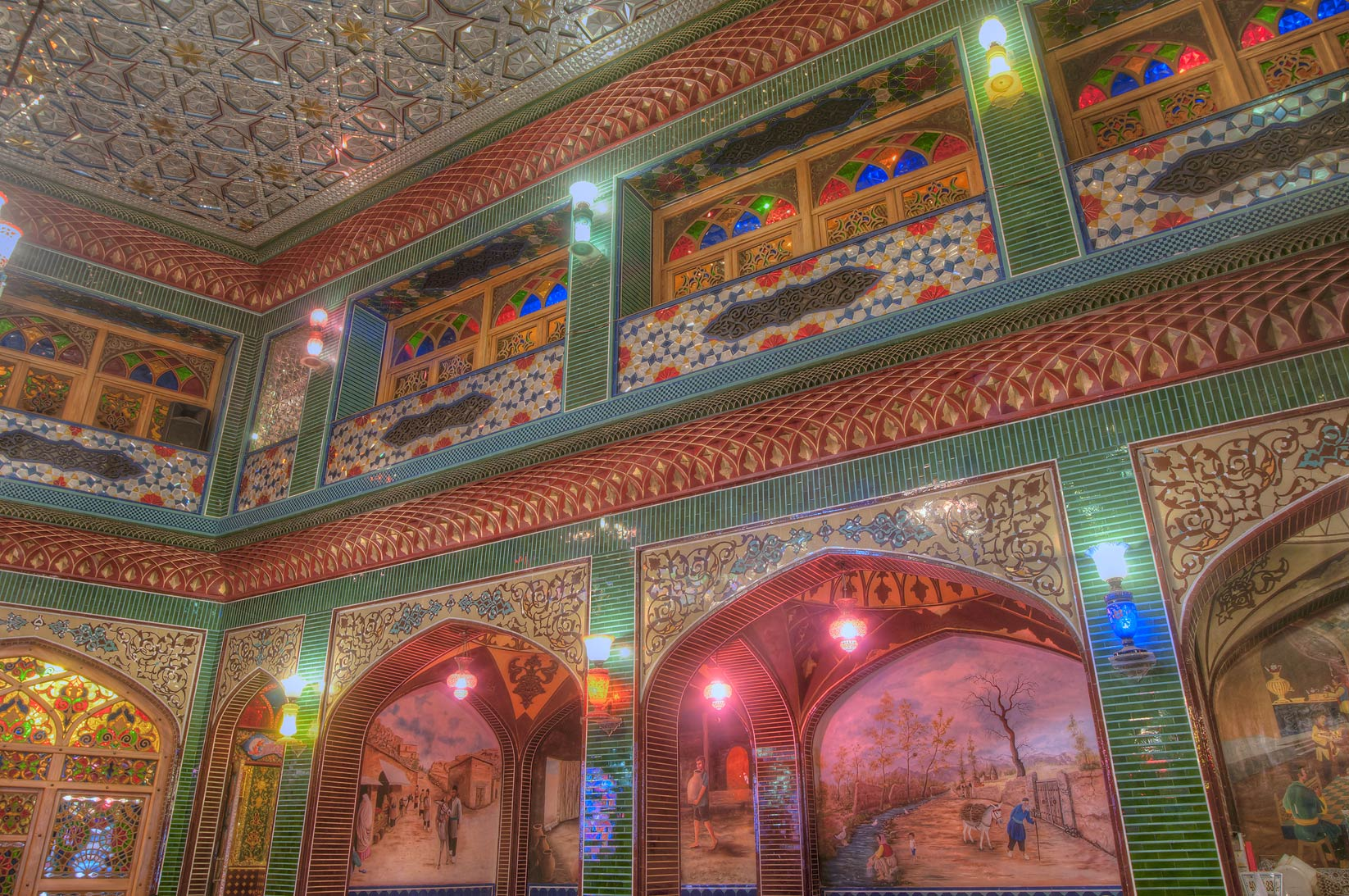 Main hall of Isfahan Gardens (Iranian restaurant) in Souq Waqif (old market). Doha, Qatar