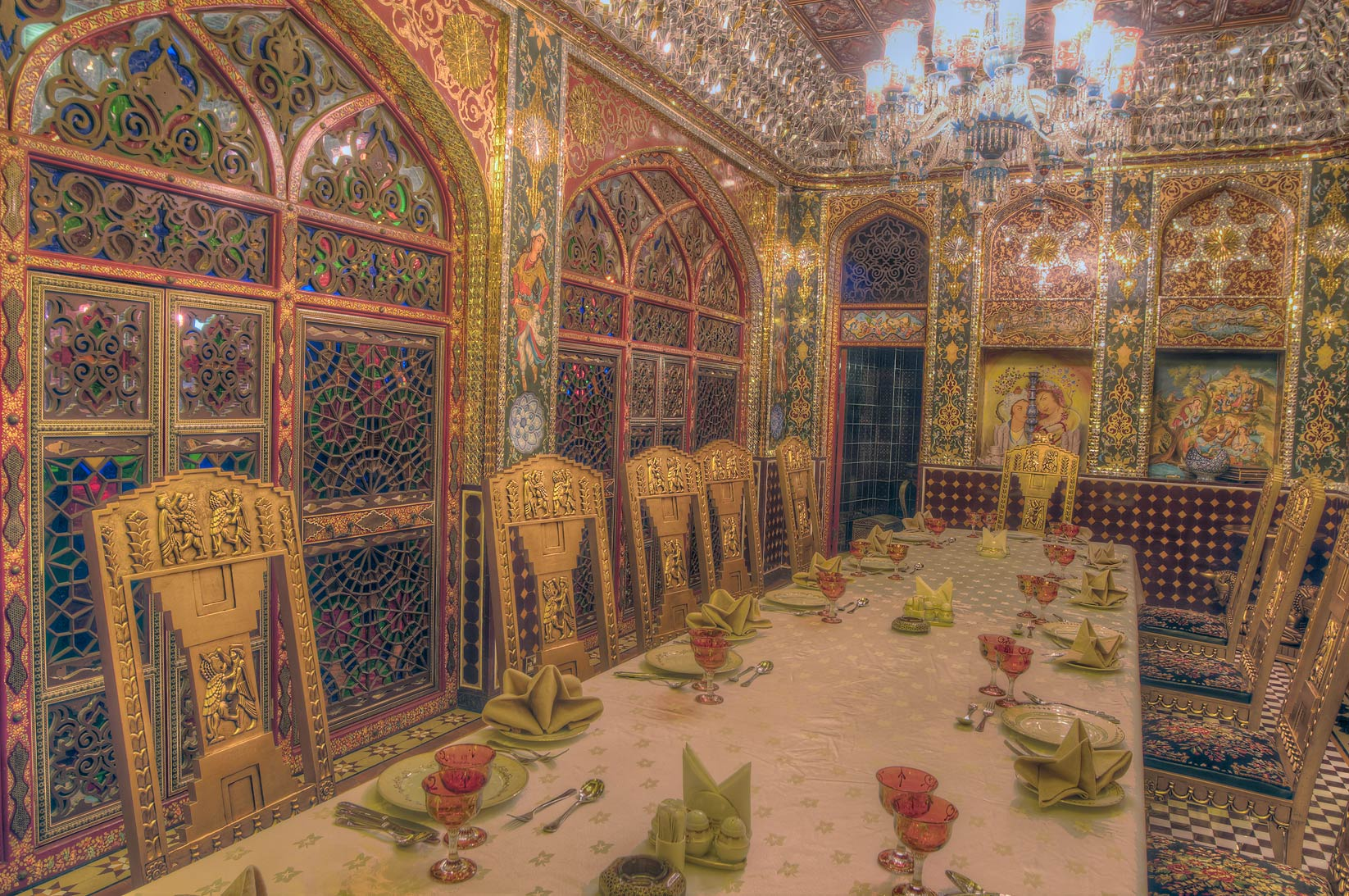 Decorations of a dining room of Isfahan Gardens...Souq Waqif (old market). Doha, Qatar