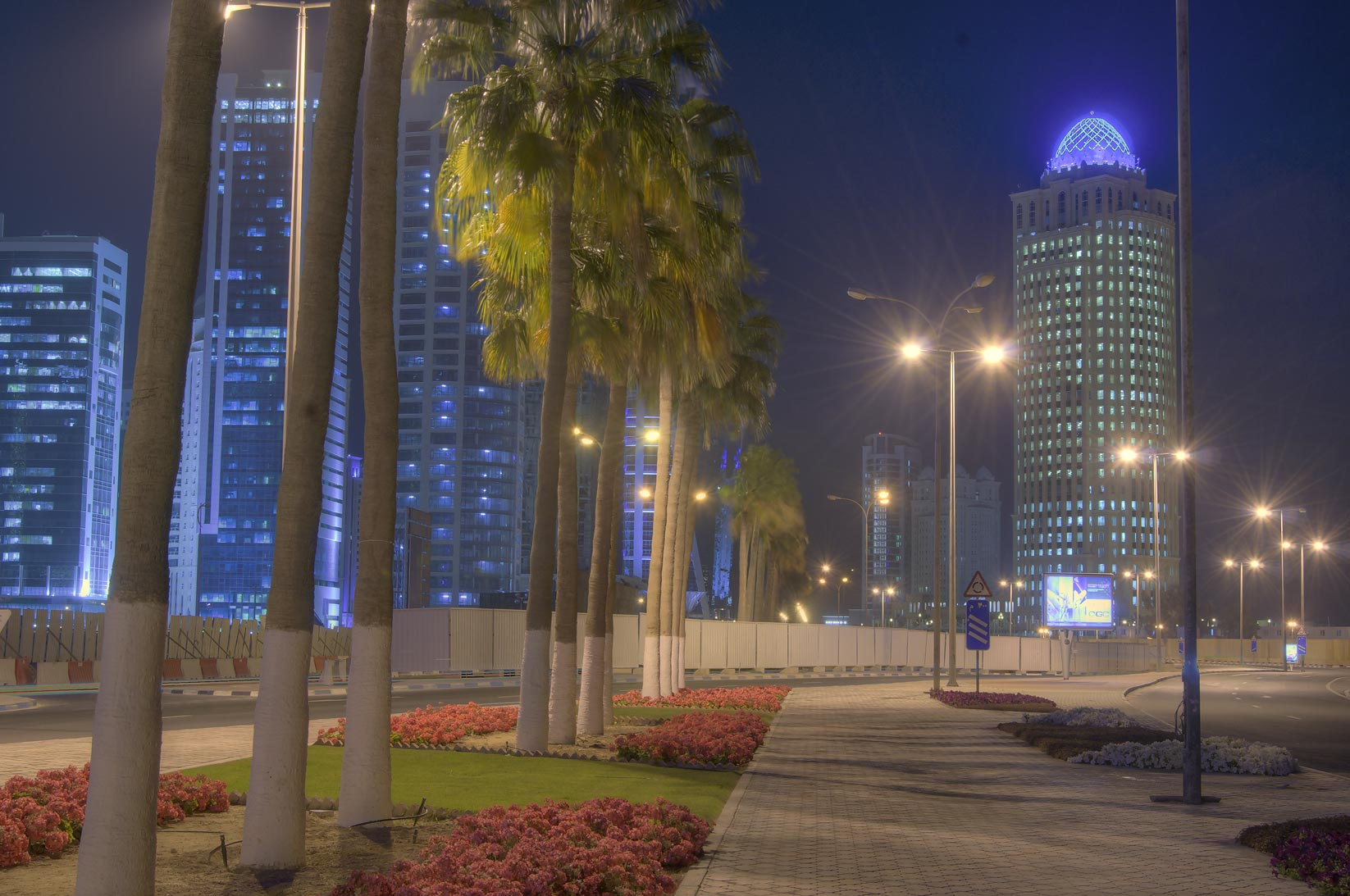 Al Cornichest St. in West Bay, with Qtel Tower in background. Doha, Qatar