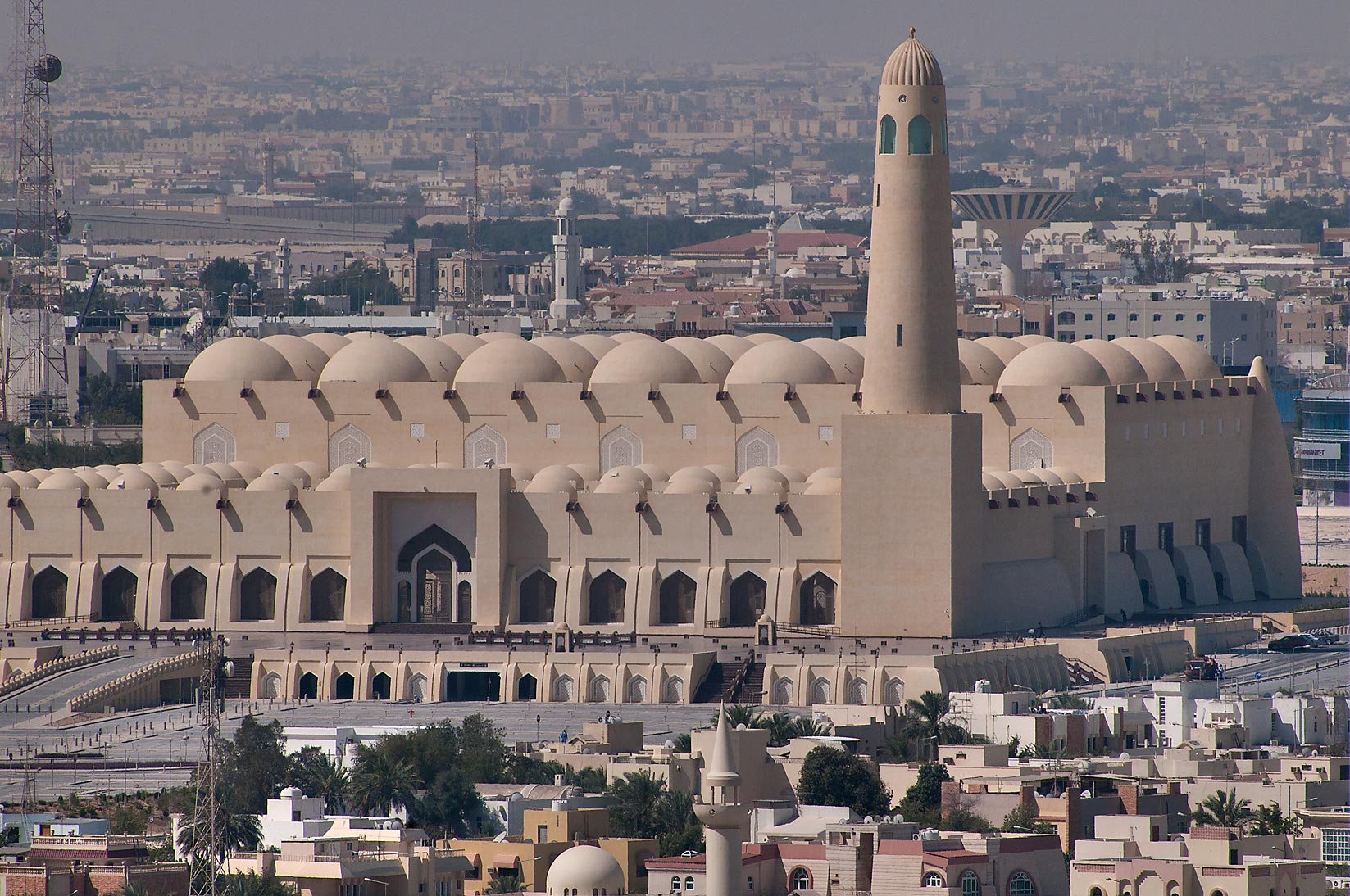 State Mosque at Al-Khuwair at late morning, view...2303 of ASAS Tower West. Doha, Qatar
