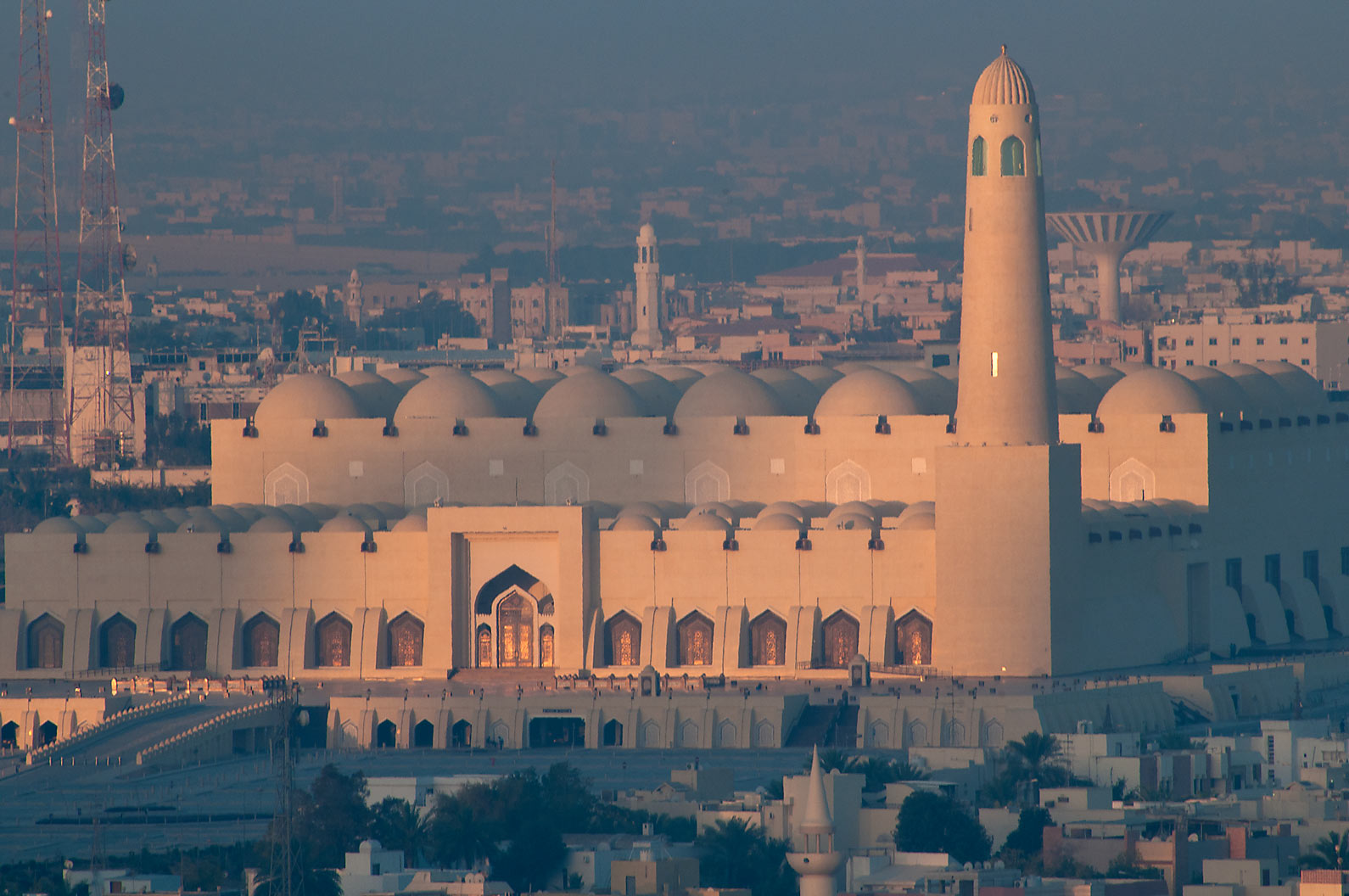 State Mosque at Al-Khuwair at morning light, view...2303 of ASAS Tower West. Doha, Qatar