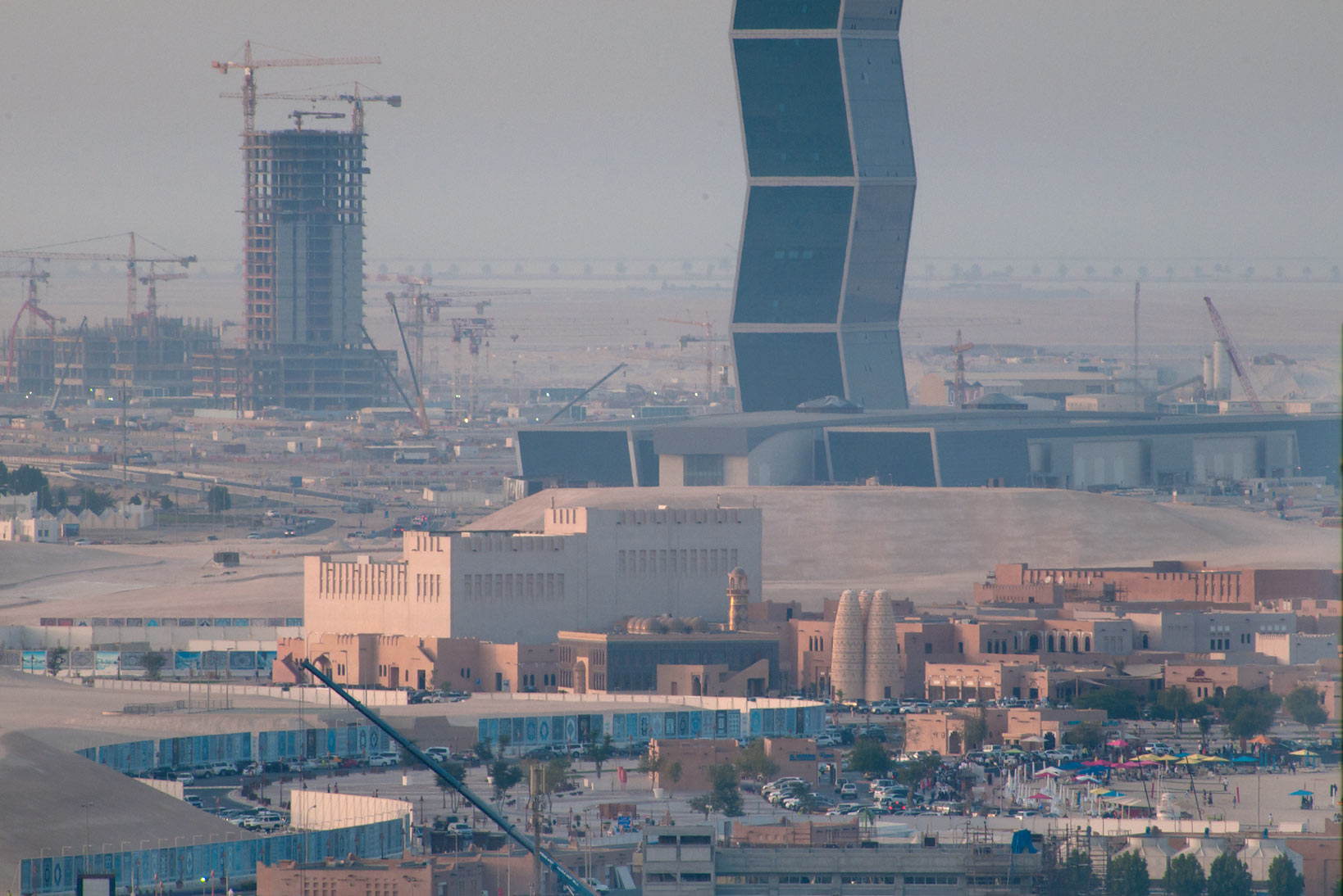 View of Katara cultural village and Zigzag Tower...2303 of ASAS Tower West. Doha, Qatar