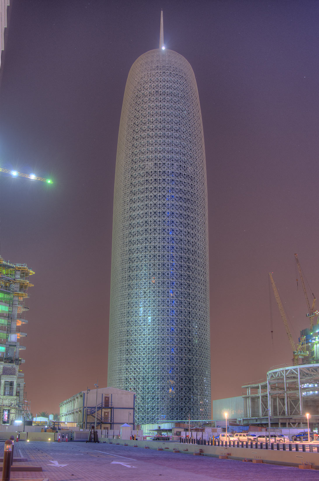 Burj Qatar (phallic) Tower at evening. Doha, Qatar