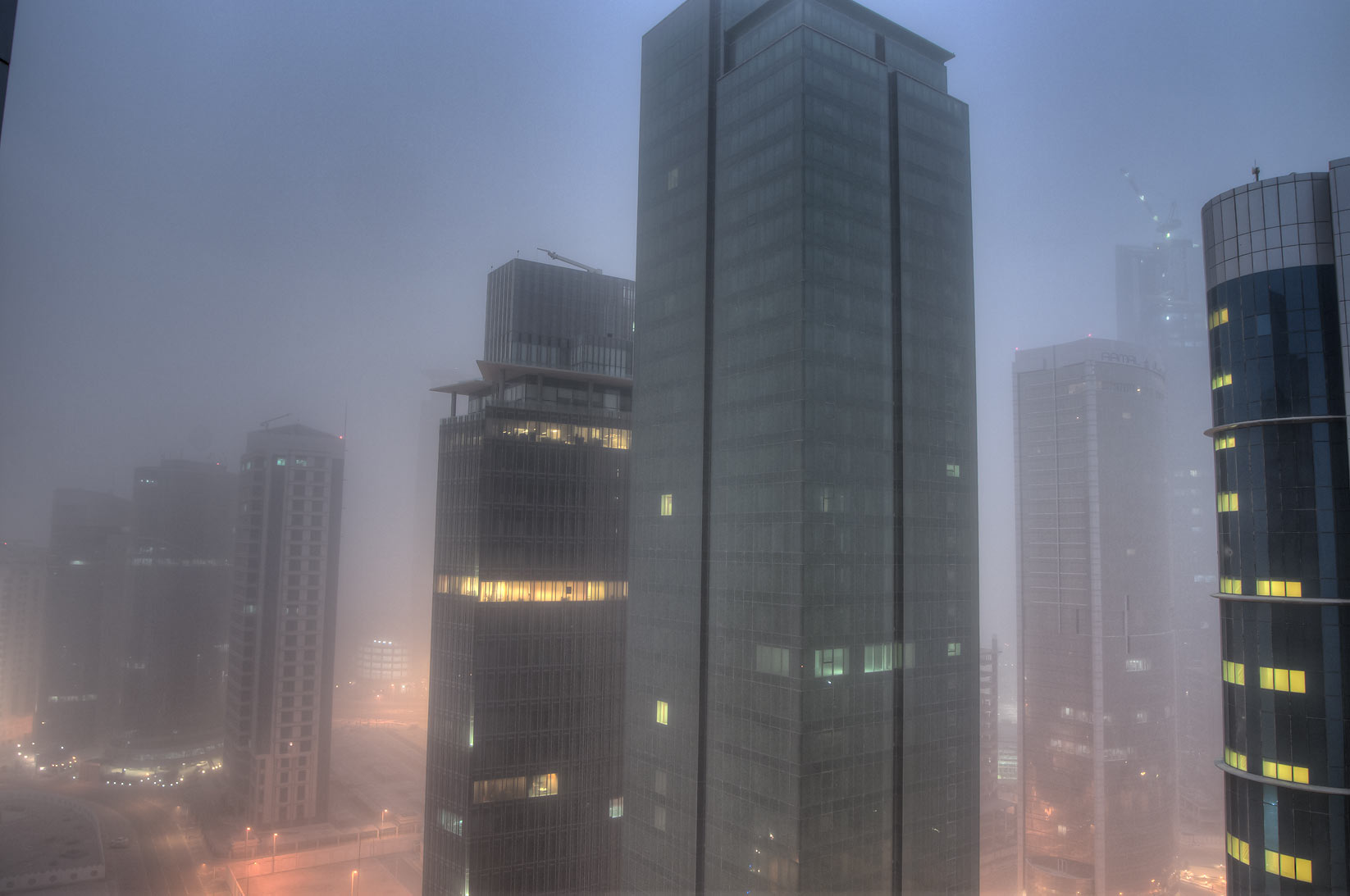 Ambassadors St. in West Bay during sand storm...2303 of ASAS Tower West. Doha, Qatar