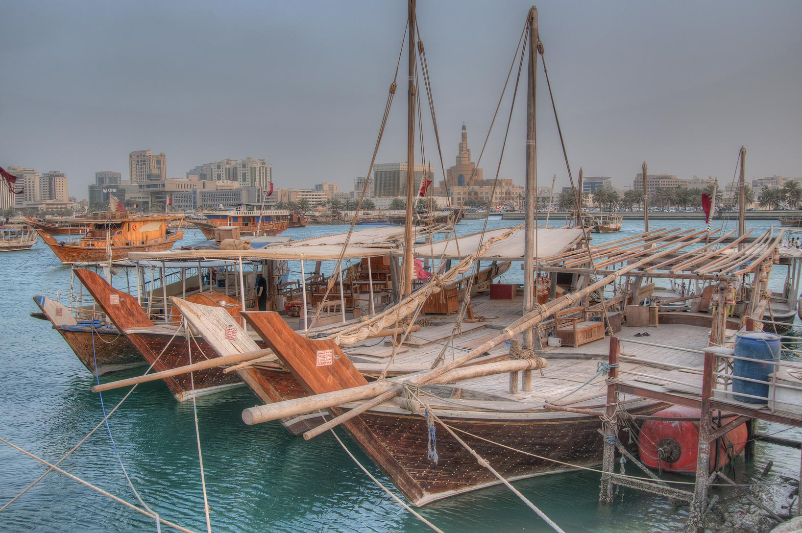 Dhow boats in fishing harbor. Doha, Qatar