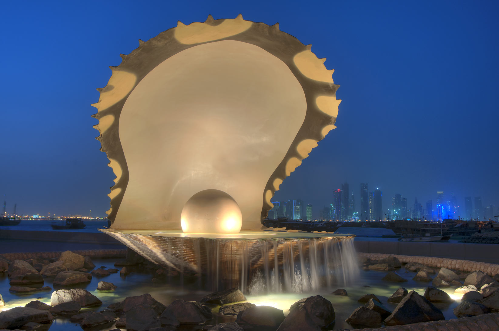 Oyster and Pearl Fountain on Corniche. Doha, Qatar