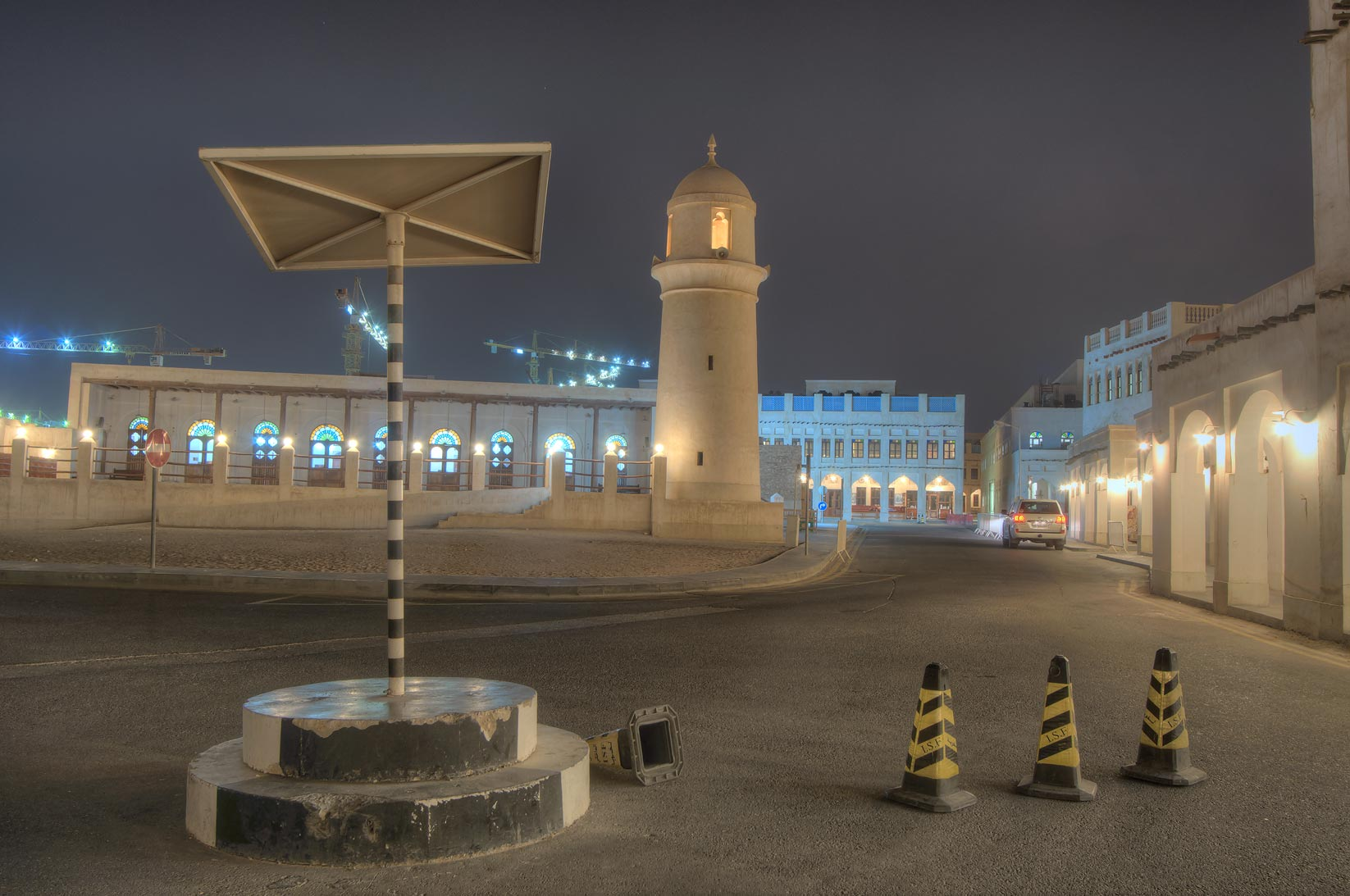 Souq Waqif Mosque and unoccupied police stand in foreground. Doha, Qatar