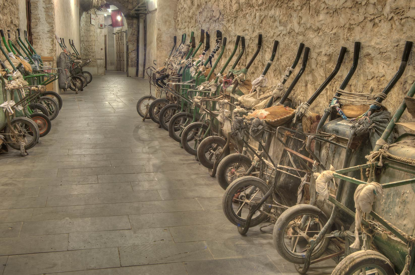 Rows of carts in Souq Waqif (Old Market) at morning. Doha, Qatar