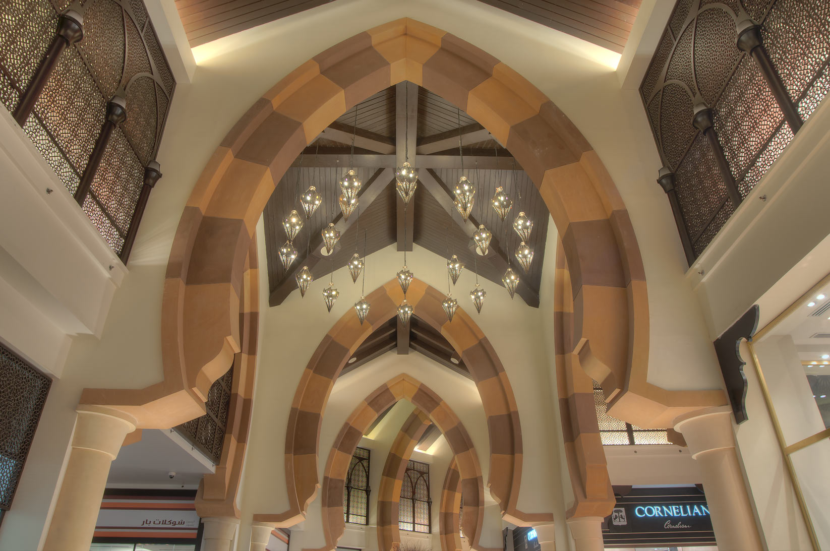 Arches of Porto Arabia shopping center in Pearl Qatar development. Doha, Qatar
