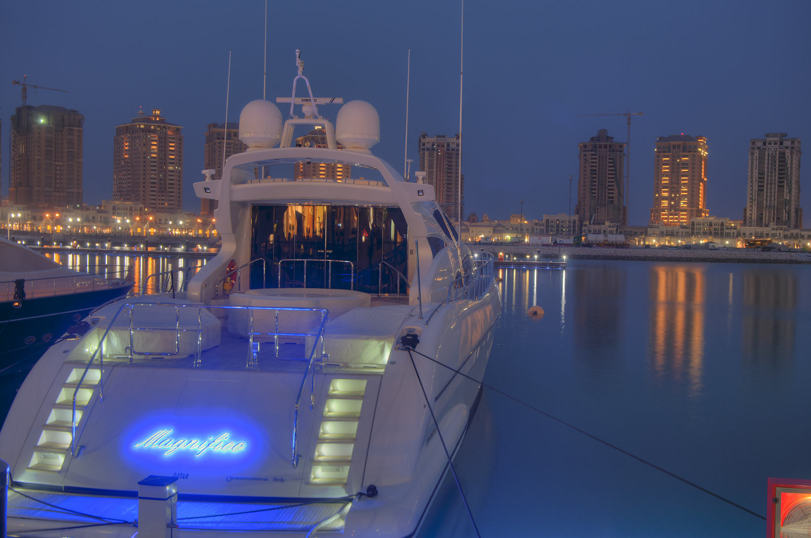 Yacht in a marina of Porto Arabia in Pearl Qatar development. Doha, Qatar