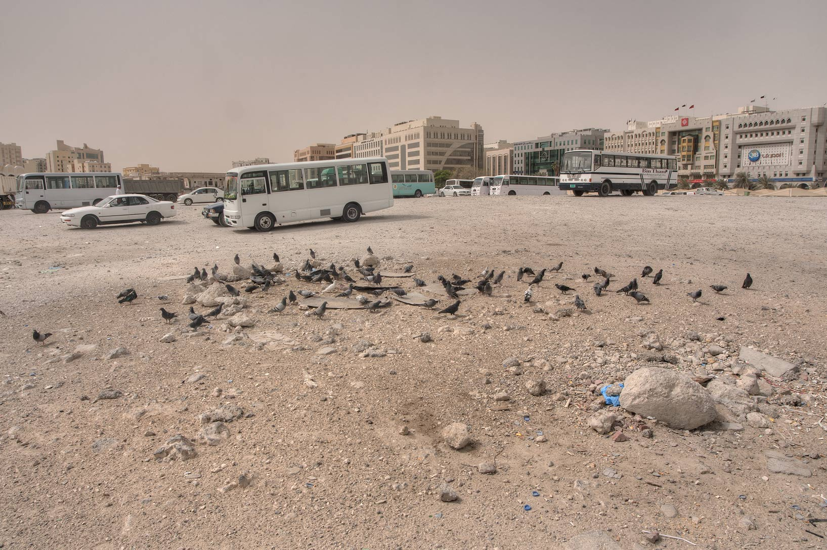 Stones remaining from an old cemetery on Al Ghanim Karwa bus station. Doha, Qatar