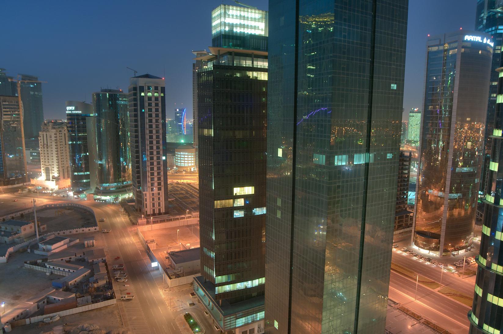 Ambassadors St. in West Bay, view from a balcony...2303 of ASAS Tower West. Doha, Qatar