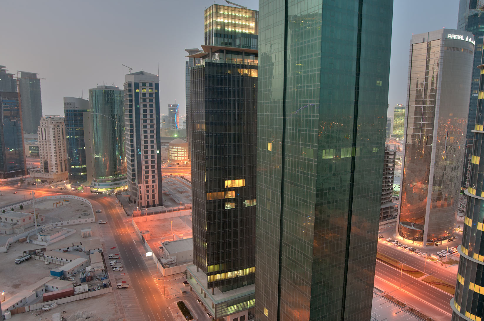 West Bay, view to the south from a balcony of Room 2303 of ASAS Tower West. Doha, Qatar