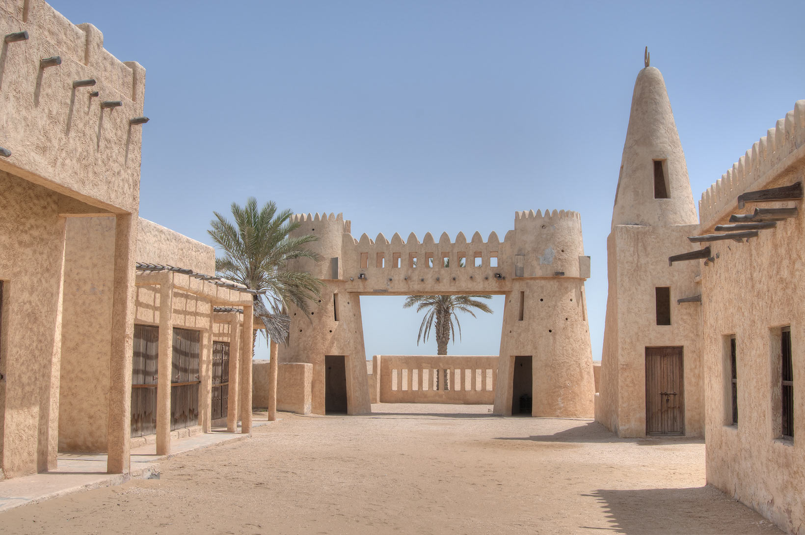 Film City (houses, minarets, wind towers and...area, north from Zekreet. Qatar