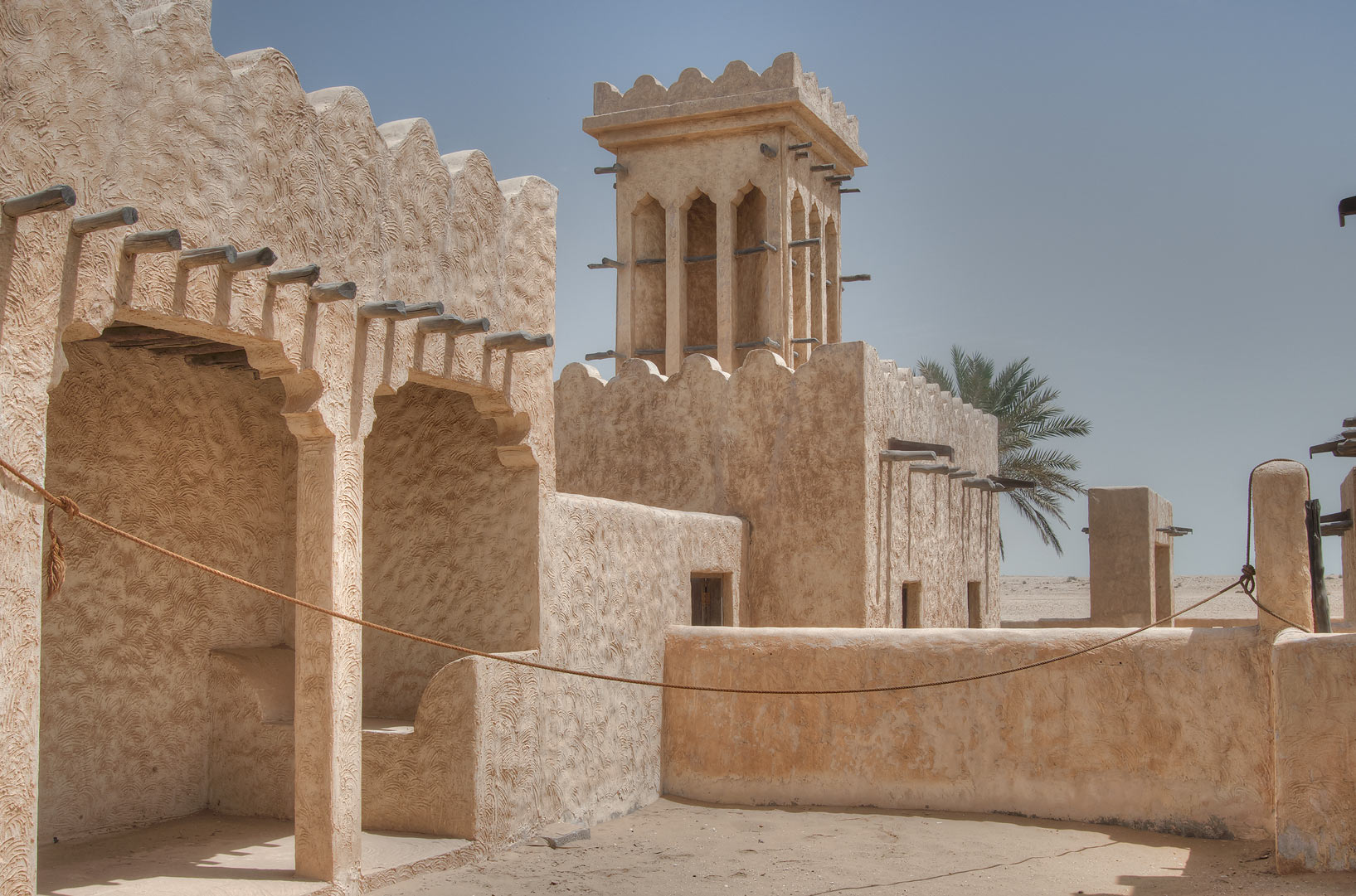 Traditional wind tower in Film City built for a...area, north from Zekreet. Qatar
