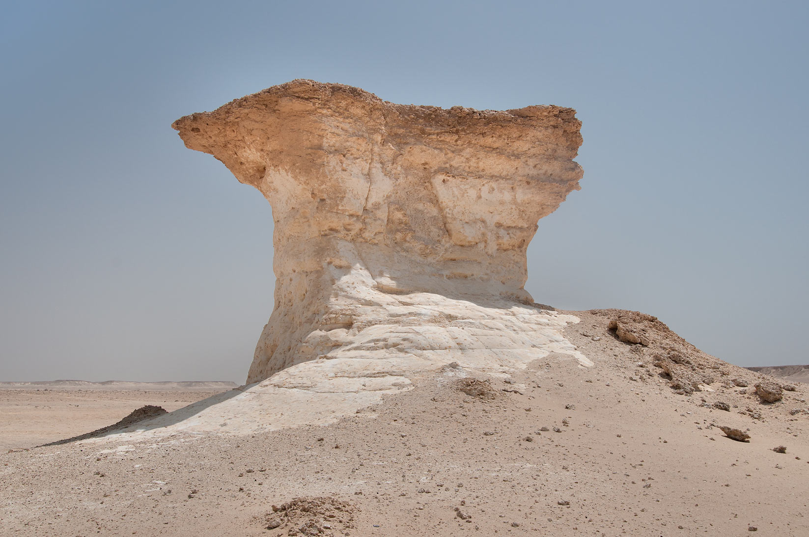 Limestone hill in shape of mushroom in Ras Abrouq...area, north from Zekreet. Qatar