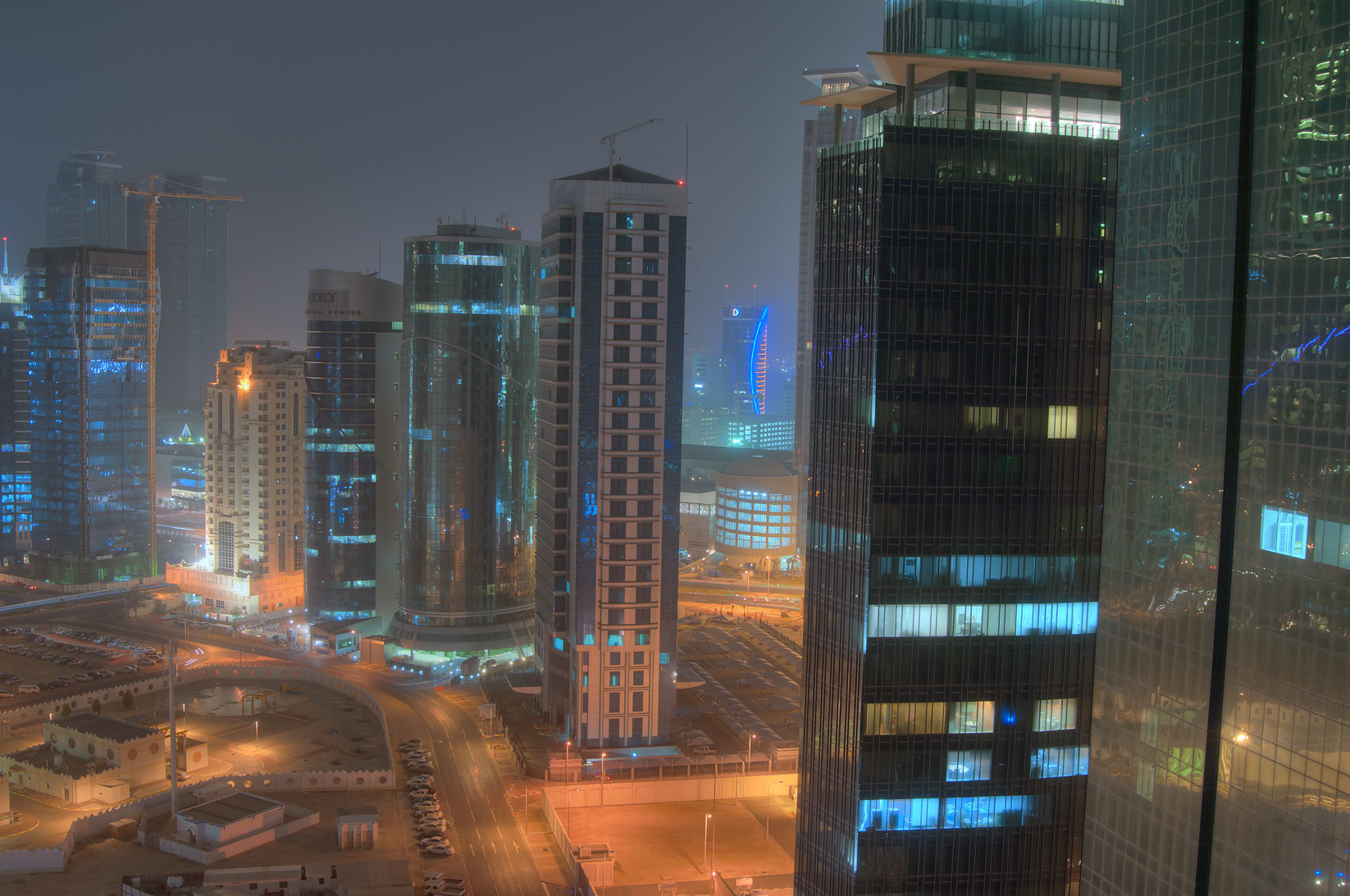 Ambassadors St. in West Bay, view to the south...2303 of ASAS Tower West. Doha, Qatar