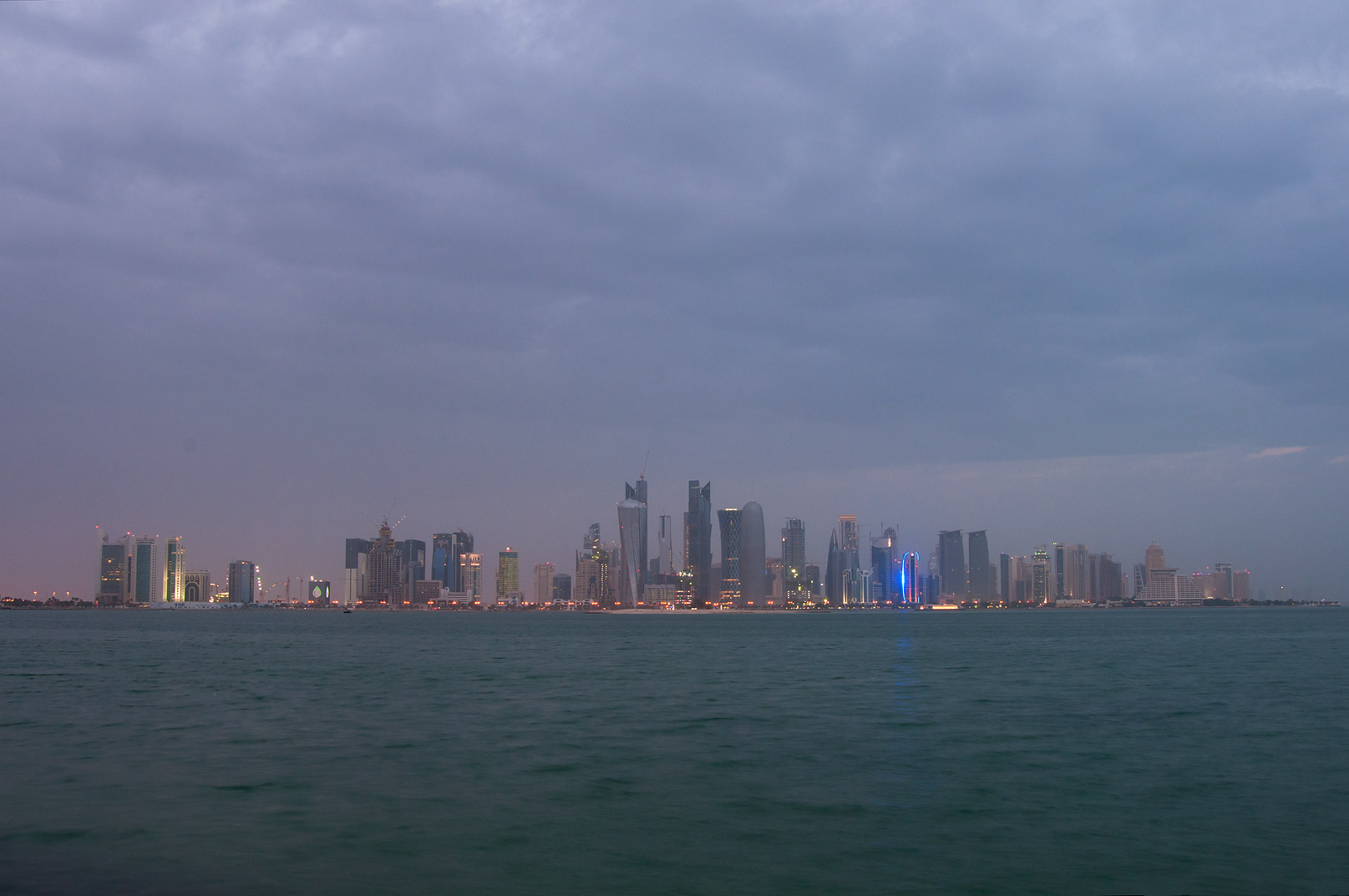 West Bay from Corniche, before a thunderstorm. Doha, Qatar