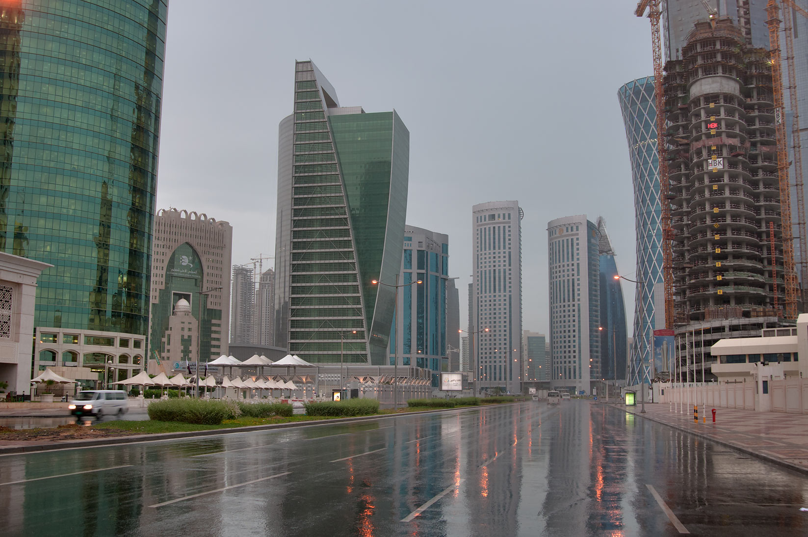 Majlis Al Taawon St. in West Bay at rain. Doha, Qatar