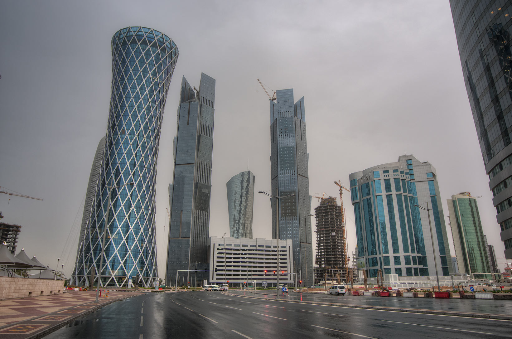 West Bay from Al Wahda St. at rain. Doha, Qatar