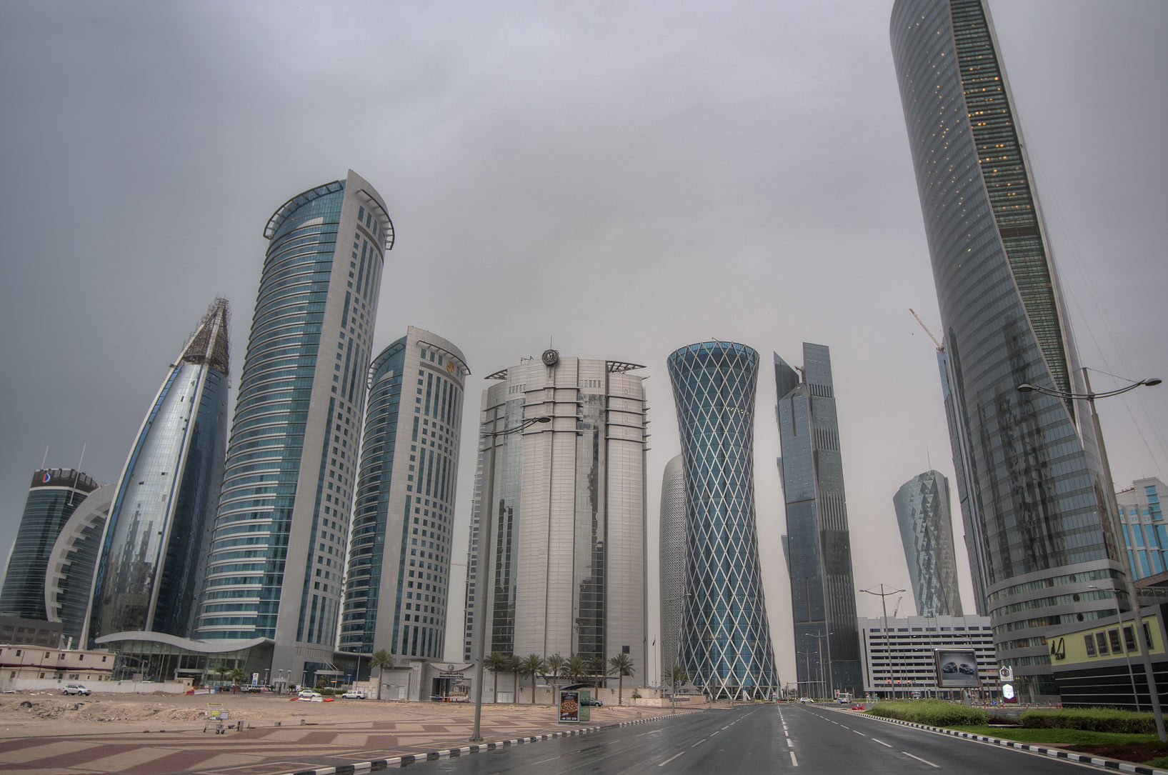 West Bay from Al Wahda St. near City Center Mall at rain. Doha, Qatar