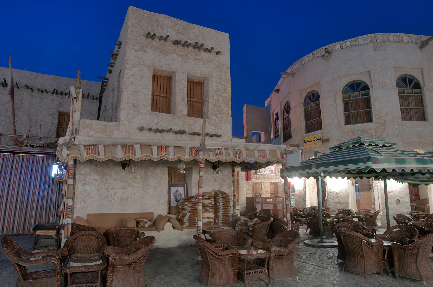 Cafe in Souq Waqif (Old Market) at morning. Doha, Qatar