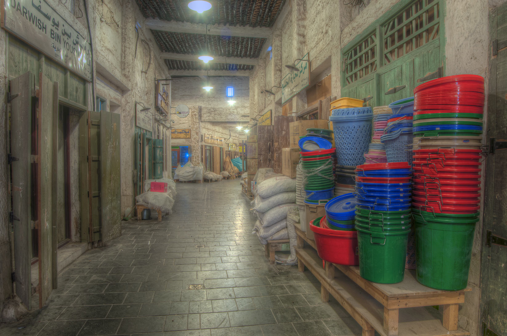 Covered passage in Souq Waqif (Old Market) at morning. Doha, Qatar