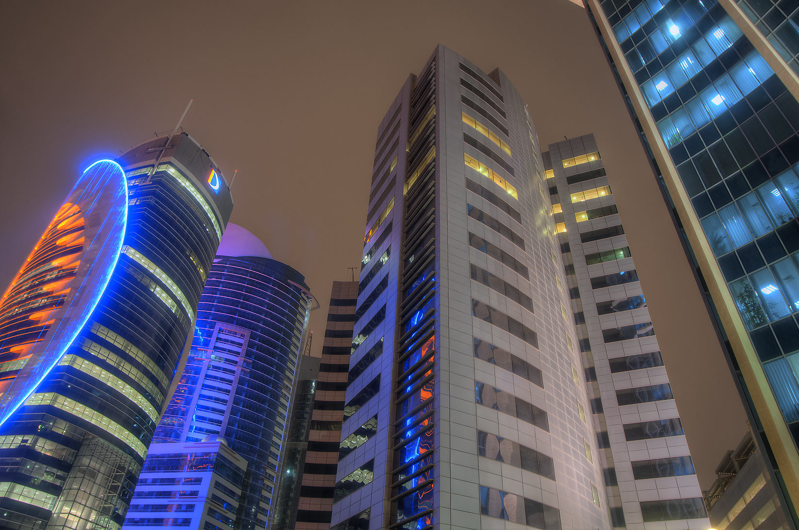 Office buildings in West Bay north from Sheraton Roundabout. Doha, Qatar