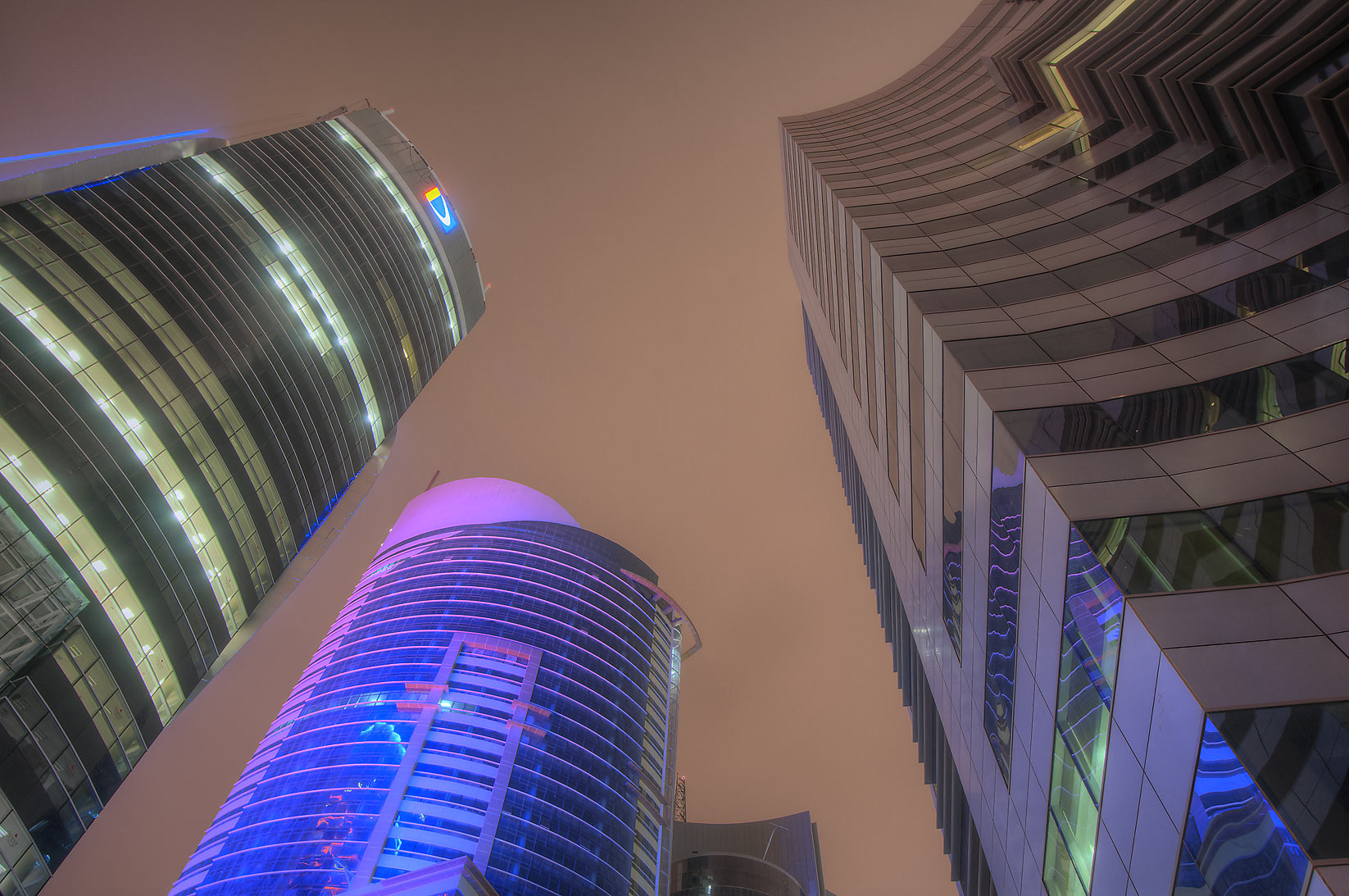 Doha Bank, Ramez Tower and Public Works Authority...from Sheraton Roundabout. Doha, Qatar